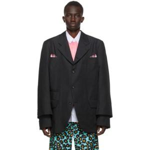 Comme des Garcons Homme Plus Black Gabardine Cut-Out Blazer