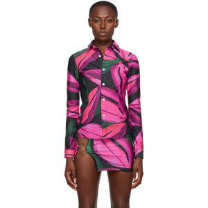 Louisa Ballou SSENSE Exclusive Pink Lycra Button-Down Shirt