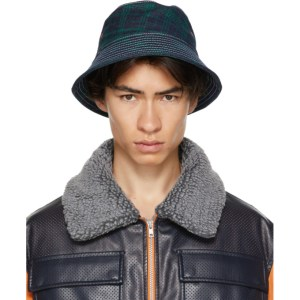Rassvet Navy and Green Check Contrast Stitch Bucket Hat