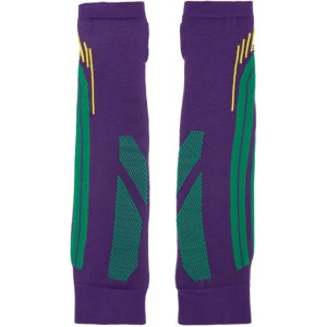 Paolina Russo SSENSE Exclusive Purple and Green Knit Battle Gloves