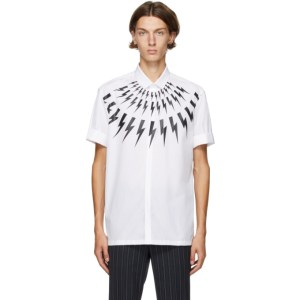 Neil Barrett White Thunderbolt Short Sleeve Shirt
