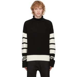Neil Barrett Black and Off-White Loose Mock Neck Guernsey Sweater