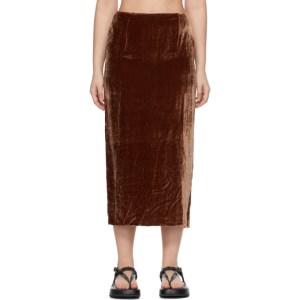 Georgia Alice SSENSE Exclusive Brown Velvet Pearl Skirt