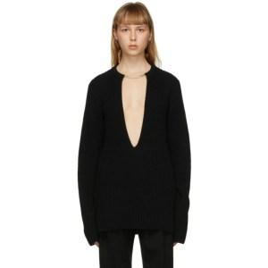 Ann Demeulemeester Black Wool Choker Sweater