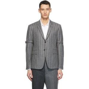 Thom Browne Grey Wool Stripe Armband Classic SB Blazer