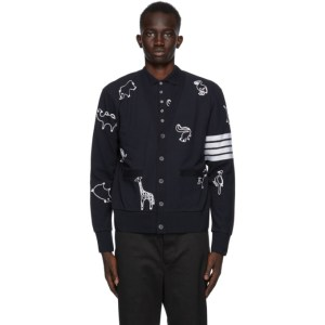 Thom Browne Navy Pique 4-Bar Icon Cardigan