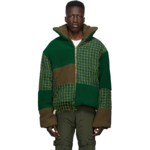 Who Decides War by MRDR BRVDO Khaki and Green Birds Eye Landscape Puffer Jacket
