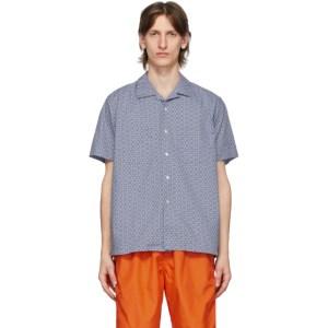 BEAMS PLUS Blue Open Collar Geometric Print Shirt
