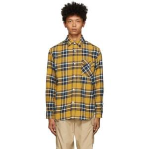 BEAMS PLUS Yellow and Blue Check Shaggy Shirt