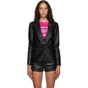 Versace Black Leather Safety-Pin Blazer