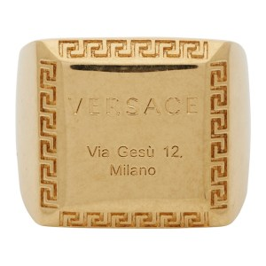 Versace Gold Address Plate Square Ring