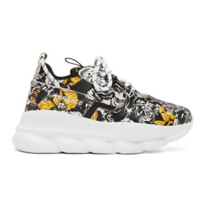 Versace Black and Gold Barocco Chain Reaction Sneakers