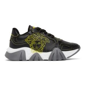 Versace Black and Yellow Pop Medusa Low-Top Sneakers