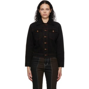 Youths in Balaclava Black and Brown Denim Colorblocked Jacket