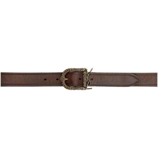 Saint Laurent Brown Leather Celtic Belt