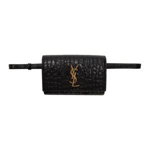 Saint Laurent Black Croc Kate Belt Bag