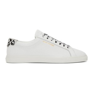 Saint Laurent White Babycat Print Perforated Calfskin Andy Sneakers