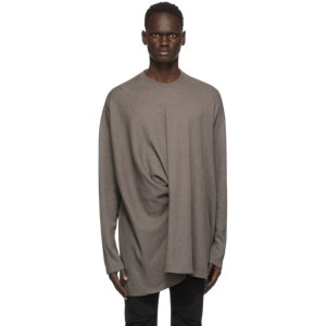 Julius Taupe Twisted Long Sleeve T-Shirt