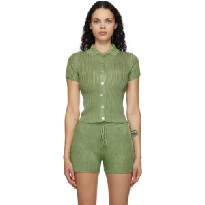 Calle Del Mar Green Ribbed Short Sleeve Shirt