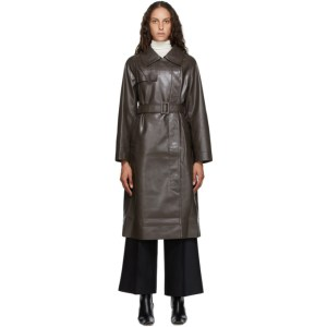 LVIR Brown Faux-Leather Trench Coat