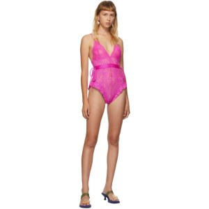 Im Sorry by Petra Collins SSENSE Exclusive Pink Lace Bodysuit