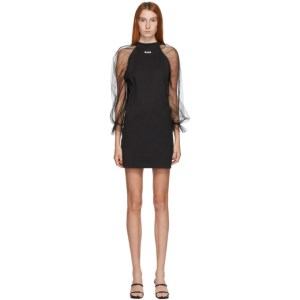 MSGM Black Tulle Sleeve Dress