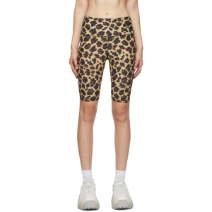 MSGM Beige Leopard Sports Shorts