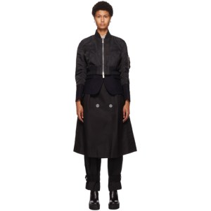 Sacai Black Nylon Trench Bomber Jacket
