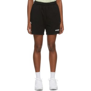 Sporty and Rich Black Science of Good Health Shorts