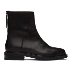 Legres Black Leather Officer Boots