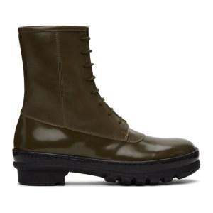 Legres Khaki Leather Rain Boots