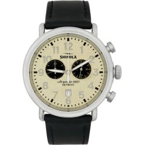 Shinola Silver and Off-White The Runwell Chrono 47mm Watch