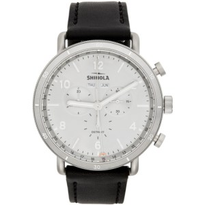 Shinola Silver and Black The Canfield Sport 45mm Watch