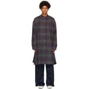 NAMESAKE Brown and Blue Plaid Viterbi Shirt