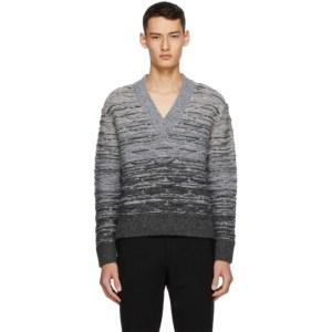 Sean Suen Grey Quilted V-Neck Sweater