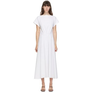 Esse Studios SSENSE Exclusive White Gathered Mid-Length Dress