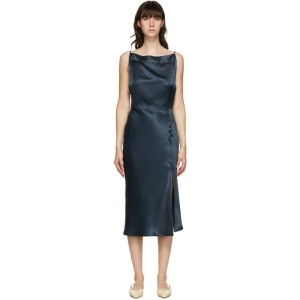 Le Kasha Blue Silk Tsaidam Mid-Length Dress