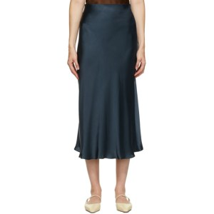 Le Kasha Blue Silk Aksou Mid-Length Skirt