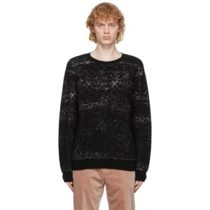 Rochas Homme Black and Grey Brushed Jacquard Sweater