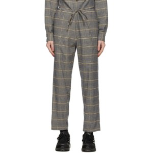 tss Navy and Yellow Check Drawstring Trousers
