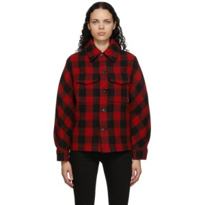 AMI Alexandre Mattiussi Black and Red Wool Check Lumberjack Jacket