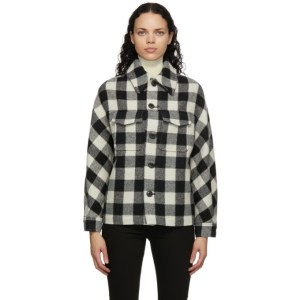 AMI Alexandre Mattiussi Black and White Wool Check Lumberjack Jacket
