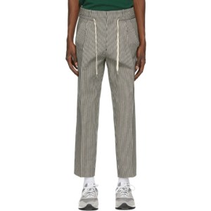 AMI Alexandre Mattiussi Black and Off-White Striped Trousers