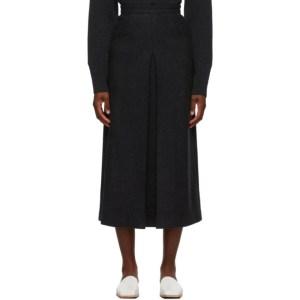 AURALEE Grey Melton Wool Skirt