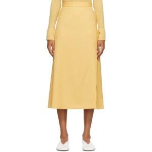 AURALEE Yellow Wool Max Serge Skirt