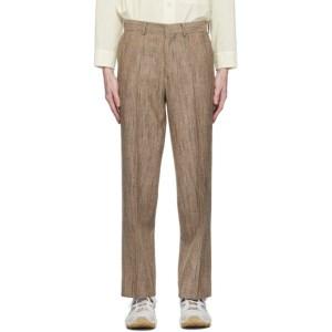 AURALEE Brown Wool Silk Tweed Trousers