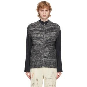 AURALEE Black Sleeveless Wool and Alpaca Sweater