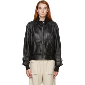 Kim Matin Black Leather Oversized Jacket