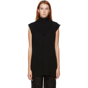 Kim Matin SSENSE Exclusive Black Wool Sleeveless Sweater