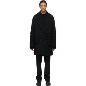JERIH Black Wool Peacoat
